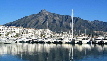 Puerto Banus with Concha Mountains in Marbella, Spain
